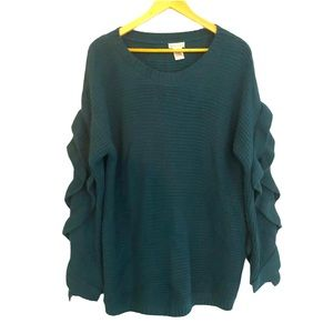 Oversized Chunky Teal Sweater Main Strip L